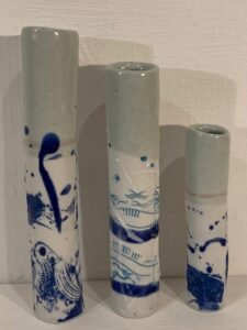 Splash vases. £12, £15, £18. Porcelain. dianabarracloughceramics@btinternet.com