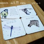 The Vision Collection – Coasters. £3.99 each or 4 for £15. 4 Designs available, please see website for further detail.ami@aewfineart.co.uk