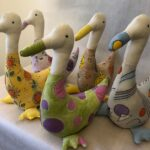 Hand painted cotton calico ducks. £20 each  andimulholland@icloud.com